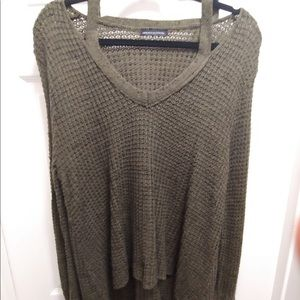 American Eagle Olive Sweater with Neck Cutout
